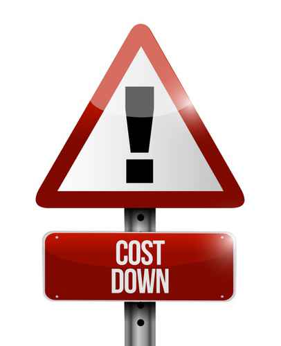 cost down warning sign illustration